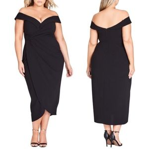 NEW City Chic | Rippled Love Black Sheath Dress 20